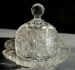 ABP AMERICAN BRILLIANT CUT GLASS Dome Butter Cheese Plate Dish Server Hobstars