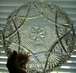 ABP American Brilliant Cut Glass Rare 12 inch Diameter Tray Plate Platter