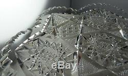 ABP Plate American Brilliant Period Cut Glass Star Type Pattern Very Clean