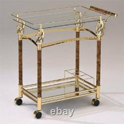 ACME Helmut Serving Cart in Gold Plated and Clear Glass