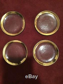 ANNIEGLASS Roman Antique 24K GOLD TRIM Glass 8 SALAD DESSERT PLATES SET OF 4