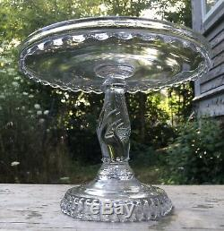 ANTIQUE 1880s EAPG TREE OF LIFE with HAND PEDESTAL GLASS 9 CAKE STAND PLATE Nice