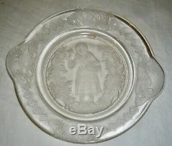 ANTIQUE 1881 EAPG IOWA CITY GLASS ELAINE BREAD PLATE With SWAN BIRD RIM MEDALLIONS