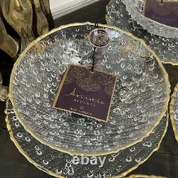 ARTISTIC ACCENTS Bubble Glass Gold Trim Dinner Plates and Bowls 8 Piece Set