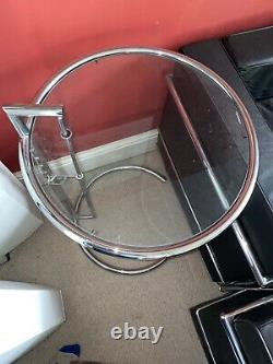 Adjustable Occasional Classic Table Eileen Gray Chrome Plated Clear Glass Side