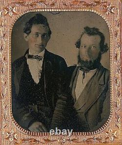 Affection Men On Lap Intimate Gay Interest 1/6 Plate Clear Glass Ambrotype A284