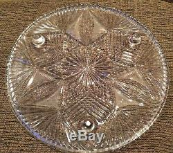 American Brilliant 12 Cut Glass Footed Serving Tray, Platter, Cake Plate, Dish