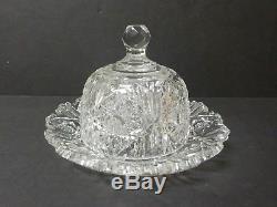 American Brilliant Cut Glass Cheese Dome & Tray / Plate, c. 1880-1900