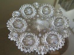 American Brilliant Cut Glass Hawkes North Star Signed Plate