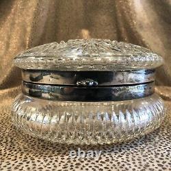 American Brilliant Period ABP Clear Cut Glass and Silver Plate Dresser Box