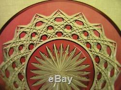 American Brilliant Period Cut Glass Ruby Cut To Clear Bowl Plate Val St Lambert