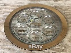 Annieglass Judaica Seder Plate, Gold New Defects J113