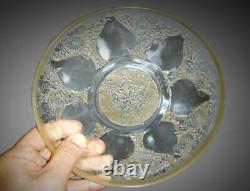 Antique 1921 Rene Lalique VDA Model Set of 6 Glass & Sepia Patina Plates & Bowls