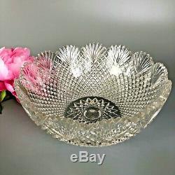 Antique ABP Brilliant Cut Glass Strawberry Diamond Fan Bowl, Custard Plates 5