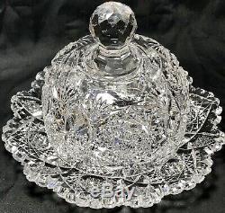 Antique Abp 7.5x5.5 J. Hoare Monarch Pattern Cut Glass Bowl Plate Butter Dish