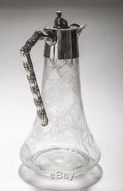 Antique Aesthetic Design Silver Plate & Etched Glass Claret Jug Decanter