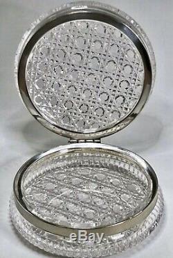 Antique American Brilliant Cut Crystal Hinged Dresser Casket Box Silver Plate