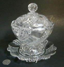 Antique BACCARAT DEPOSE France Crystal DIAMOND SWIRL Candy Dish Compote Plate
