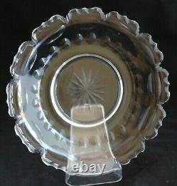 Antique Beautiful French Style Set 8 Cut Glass Crystal Salad Plates