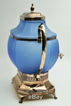 Antique Blue Frosted Glass Lemonade/Tea Dispenser Handpainted Silver Plated Base