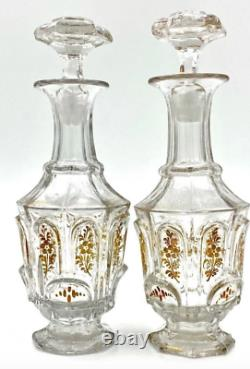 Antique Bohemian Moser Clear and Gold Art Glass VANITY SET Scent Bottles Plates