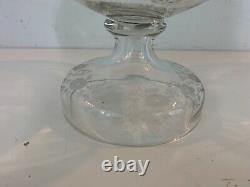 Antique Clear Glass Covered Punch Bowl and Under plate with Etched Floral Dec