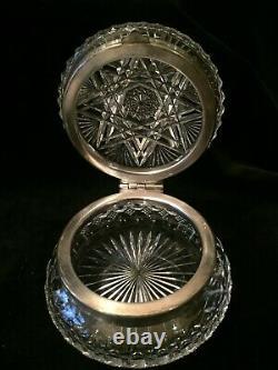 Antique Cut Glass Crystal Silver Plate Casket Trinket Box american brilliant
