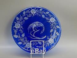 Antique Cut To Clear Crystal Cobalt Blue Plate