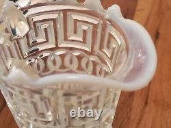 Antique EAPG Nickel Plate Company Double Greek Key Pitcher Fostoria Opalescent