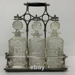 Antique English Sheffield Silver Plated Three Glass Decanter Tantalus Antique