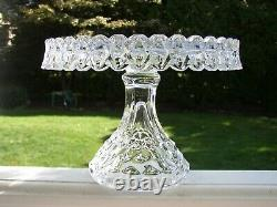 Antique FOSTORIA AMERICAN Crystal Glass PEDESTAL CAKE STAND Footed Plate Salver
