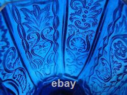 Antique Flint Glass Creamer Cobalt Blue California pattern, ex-Hirschmann, EAPG
