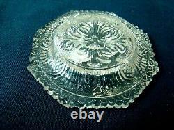 Antique Flint Glass Cup Plate LR 183B XRare, EAPG Lacy, Boston Sandwich