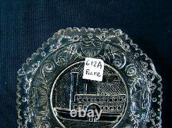 Antique Flint Glass Cup Plate LR 612A, Rare, EAPG, Lacy, Boston Sandwich