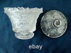 Antique Flint Glass Sugar Bowl & Lid Rare Eagle/Shield EAPG, Boston Sandwich