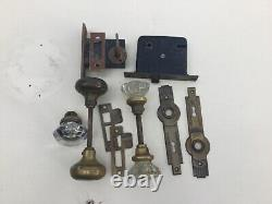 Antique Glass and Brass Door Knobs with Spindle & Plates, Locks & 8 Hinges