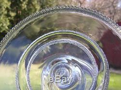 Antique HEISEY Glass EAPG Pedestal CAKE STAND Plate SalverBeaded SAWTOOTH BAND