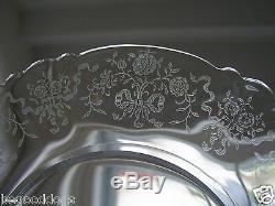 Antique Heisey Elegant Glass 8 Cake Plates Crinoline Etched Pattern Set of (8)
