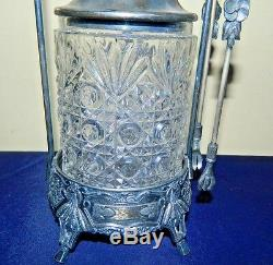 Antique James A Tufts Quadruple Plated Silver Cut Glass Pickle Jar With Tongs