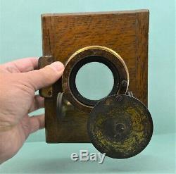 Antique Large Brass Camera / Projector Lens 4 cm Oak face plate clean glass