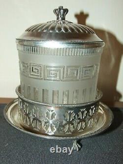 Antique Molineaux Webb & Co Manchester 1867 Biscuit Jar Silver Plate Lid & Base