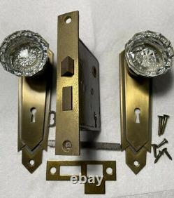 Antique New Stock Corbin P12 Never Use Mortise Lock, 2 Clear Glass Knobs, Plates