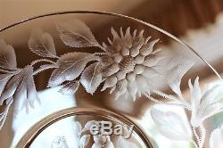 Antique Set 12 Moser Style Intaglio Engraved Birds & Flowers Crystal Plates