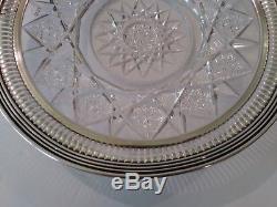 Antique Signed BIRKS Cut Glass Plate, Sterling Silver Rim