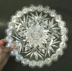 Antique Signed LIBBEY American Brilliant Cut Glass LEAF STAR 11+ Plate Tray ABP