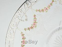 Antique Silver Overlay Floral Enamel Glass Plate 19th C