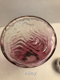 Antique Silver Plate EPNS Rubina Glass Salt Sugar Shaker Cranberry To Clear 6