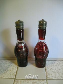 Antique Silver Plate RUBY to Clear Etched Glass Vinegar Oil Cruet Set Victorian