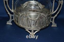 Antique WMF Style Silver-plate and Etched Glass Vase or Urn