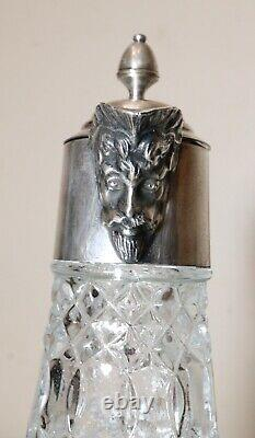 Antique ornate figural English silver plated pressed glass wine claret decanter